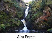 an image of aira force waterfall in the lake district that inspired william Wordsworth to write two poems