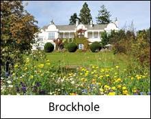 image of brockhole visitor centre and flowers at windermere in the lake district