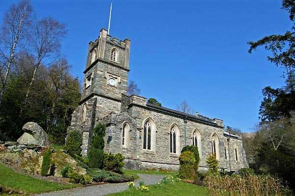 image of the exterior of St Mary's Church at Rydal in the Lake District