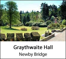 image of trees and shrubs at graythwaite hall at newby bridge in england