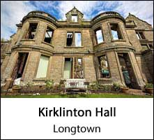 image of a derelict facade of a large old building at kirklinton hall at longtown in cumbria