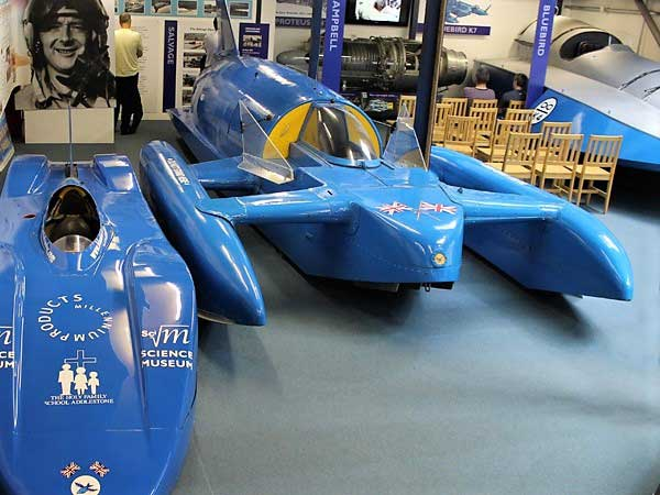 image of the Blue Bird Boat at the lakeland motor museum at newby bridge in cumbria
