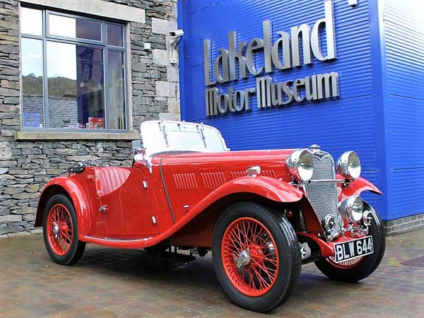 image of a vintage car outside the lakeland motor museum