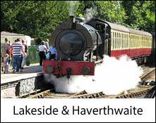 an image of a steam train in the lake district at the lakeside and haverthwaite railway