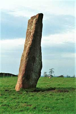 image of long meg standing stone at little salkeld in cumbria