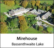 image of an aerial view of mirehouse country house at bassenthwaite lake in the lake district