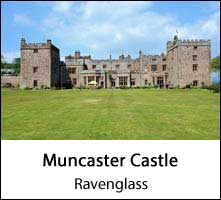 image of the front of muncaster castle and lawns at ravenglass in the lake district page