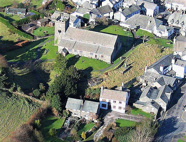 image of an aerial view of hawkshead old grammar school where william wordsworth went to school