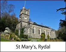 an image of st mary's church at rydal in the lake district