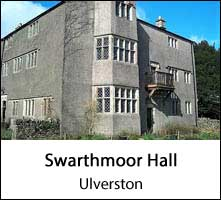 image of the exterior of swarthmoor hall , a quaker historic building to visit at ulverston in cumbria