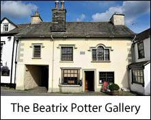 an image of the exterior of the beatrix potter gallery at hawkshead in the lake district