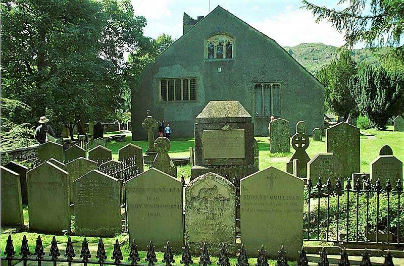 image of william wordsworth's grave at grasmere church