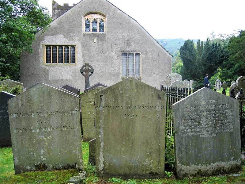 image of William Wordsworth's grave at St Oswald's Church, Grasmere
