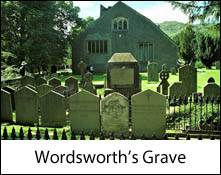 an image of an image of william wordsworth's grave in the churchyard at grasmere church in the english lake district