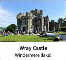 image of the exterior of wray castle and visitors sitting on picnic benches at windermere lake in the lake district page