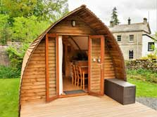 image of pet friendly wigwam camping pods for glamping holidays in the lake district