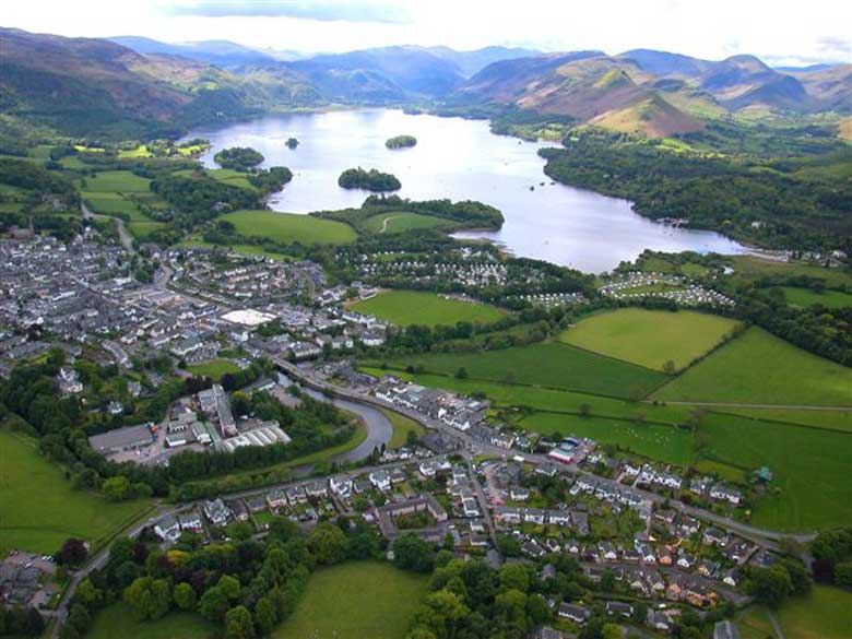 An aerial view of Keswick and Derwentwater. Looking towards the Borrowdale Valley.