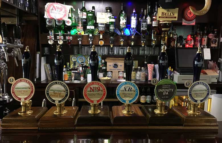 image of coniston brewery ales at the black bull in coniston village