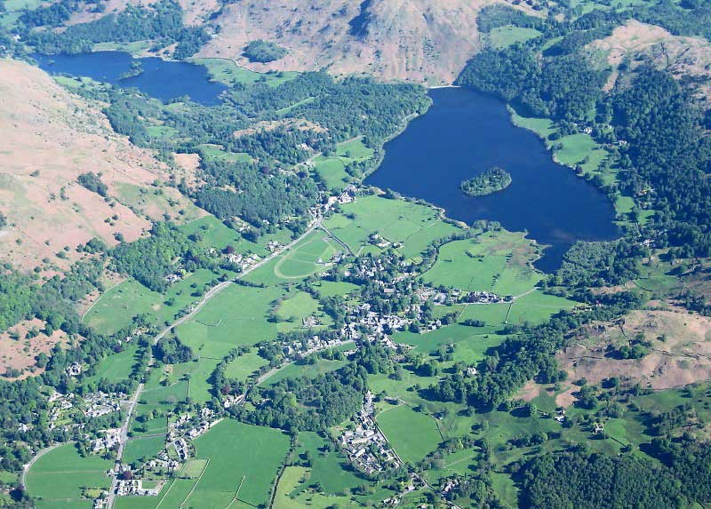 image of aerial view of grasmere village