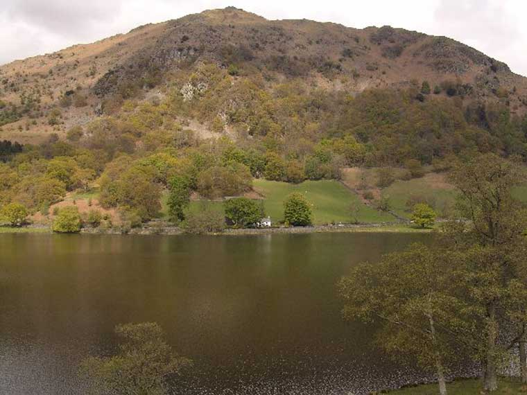 image of nab cottage and nab scar across rydal water