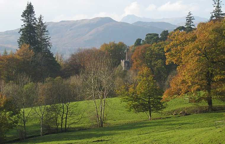 image of rydal village church and the langdale pikes