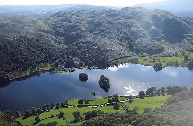 image of Rydal Water and Loughrigg from the slopes of Nab Scar