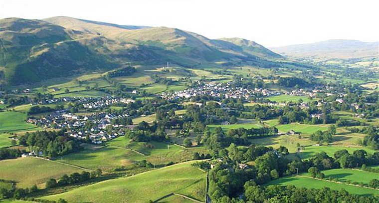 image of an aerial view of Sedbergh for a What's On in the Lake District event The Story of Sedburgh