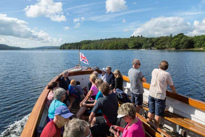 image of passengers on board the Coniston Launch on Coniston Water in the Lake District