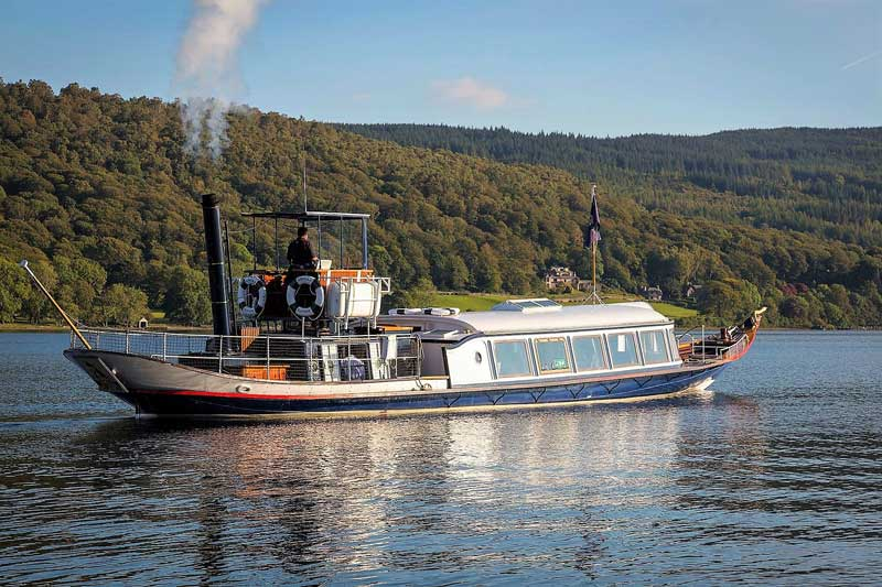 image of the Steam Yacht Gondola on Coniston Water, on its way to Brantwood, home of John Ruskin.