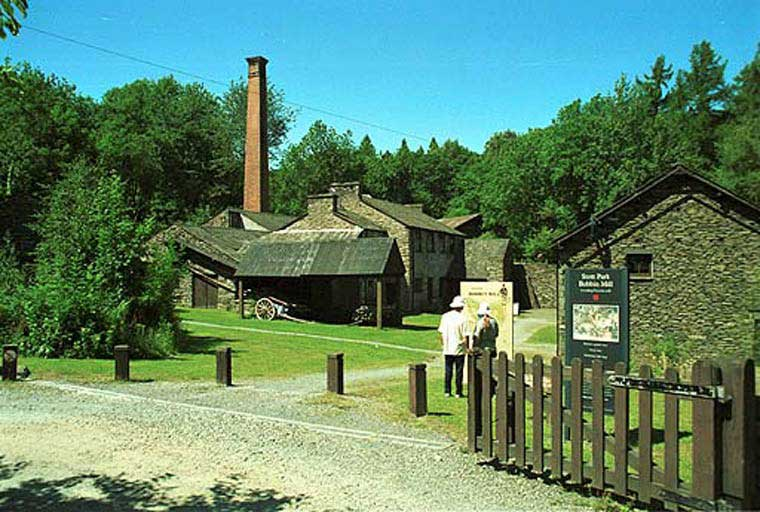 image of the exterior of Stott Park Bobbin Mill near Newby Bridge in the South Lakes