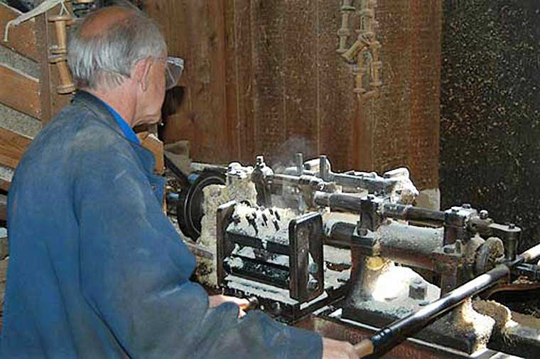 image of lathes for making bobbins in Stott Park Bobbin Mill near Newby Bridge in the Lake District