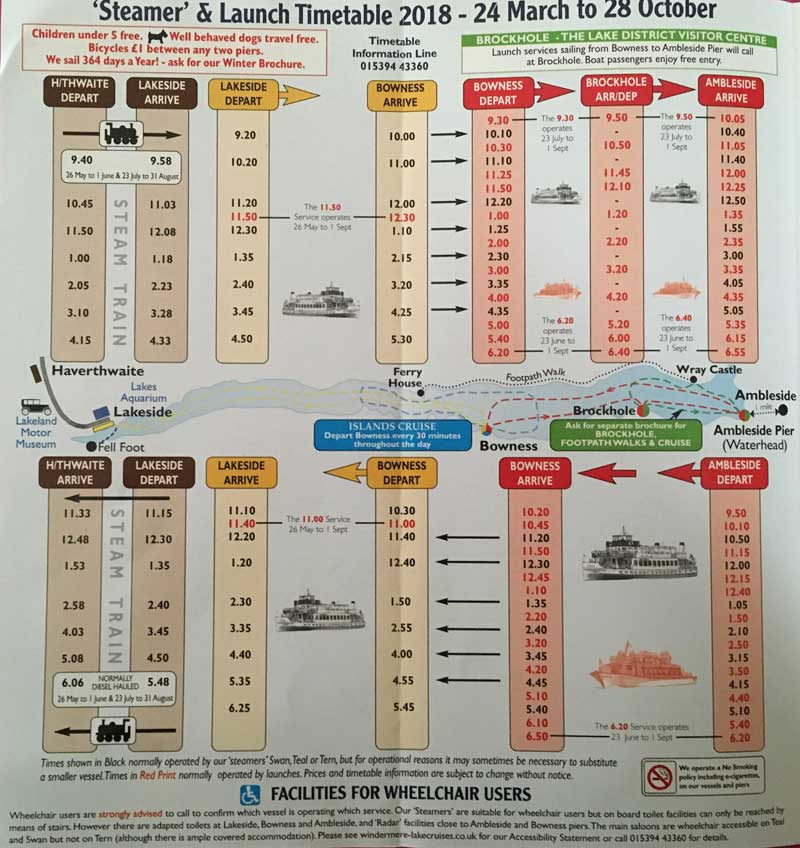 image of the Windermere Lake Cruises timetable