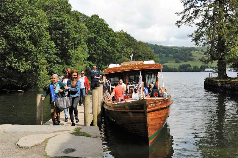image of the Windermere Lake Cruises The 'Queen of the Lake' arriving at Wray Castle pier in the Lake District