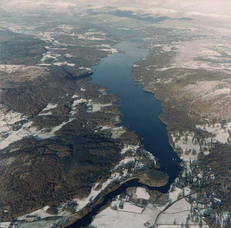 image of an aerial view of windermere lake in the lake district in the winter, looking north from newby bridge