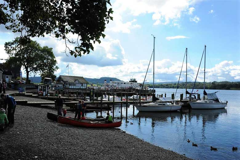 image of Waterhead pier on Windermere lake at Ambleside in the lake district