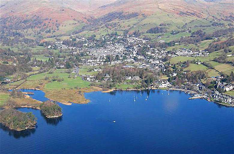 image of an aerial view of Ambleside, Lake Windermere and Waterhead Pier in the lake district