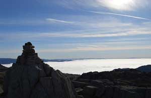 image of the summit cairn of Cold Pike fell in the south Lake District