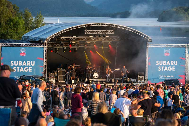 image of Keswick Mountain Festival on the shores of Derwentwater lake near Keswick in the Lake District