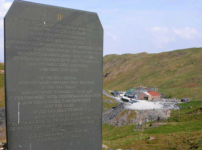 image of an inscribed slate stone at Honister Slate Mine in the Lake District