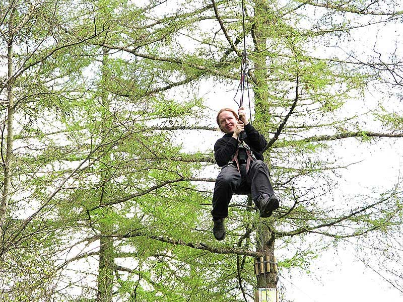image of a man on a zip wire in the trees at Go Ape in Whinlatter Forest