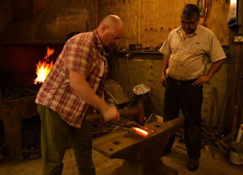 image of blacksmiths forge and knife making course at Moorforge