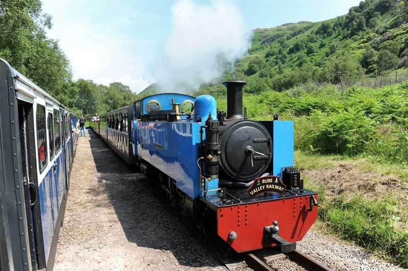 image of a steam train on the Ravenglass and Eskdale Railway