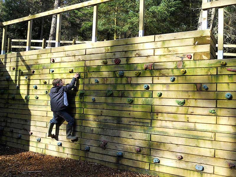image of a child on a climbing wall at Wildplay at Whinlatter Visitor Centre in the Lake District