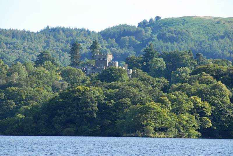 image of wray castle from lake windermere