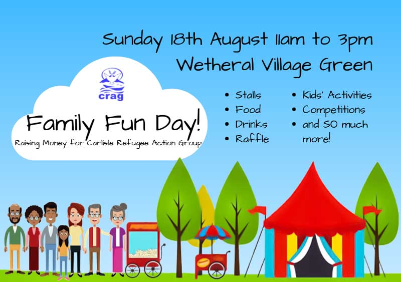 image of a flyer for a village fun day event in the Lake District