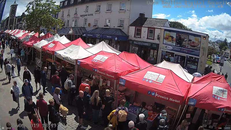 image of market stalls in Keswick
