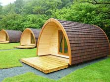 image of camping pods at YHA Borrowdale, near Keswick in the Lake District