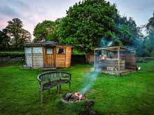 image of a pet friendly lake district glamping cabin with hot tub