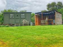 image of pet friendly shepherds huts for glamping lake district