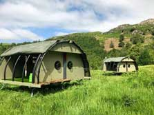image of pet friendly Lake District glamping Landpods in a field at Eskdale